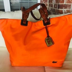 Dooney & Bourke large nylon and leather tote bag.